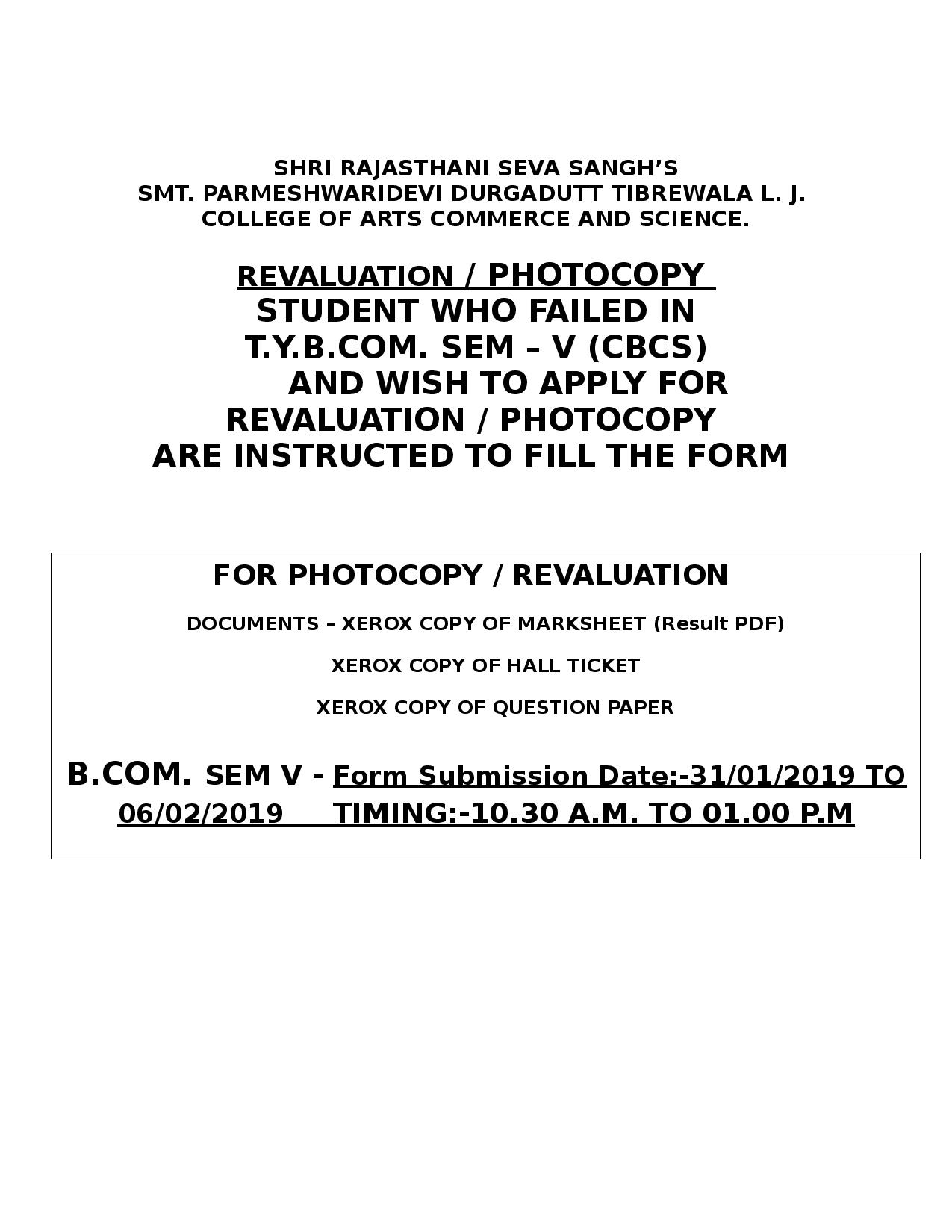 Revaluation/ Photocopy student who failed in T Y B COM  SEM – V